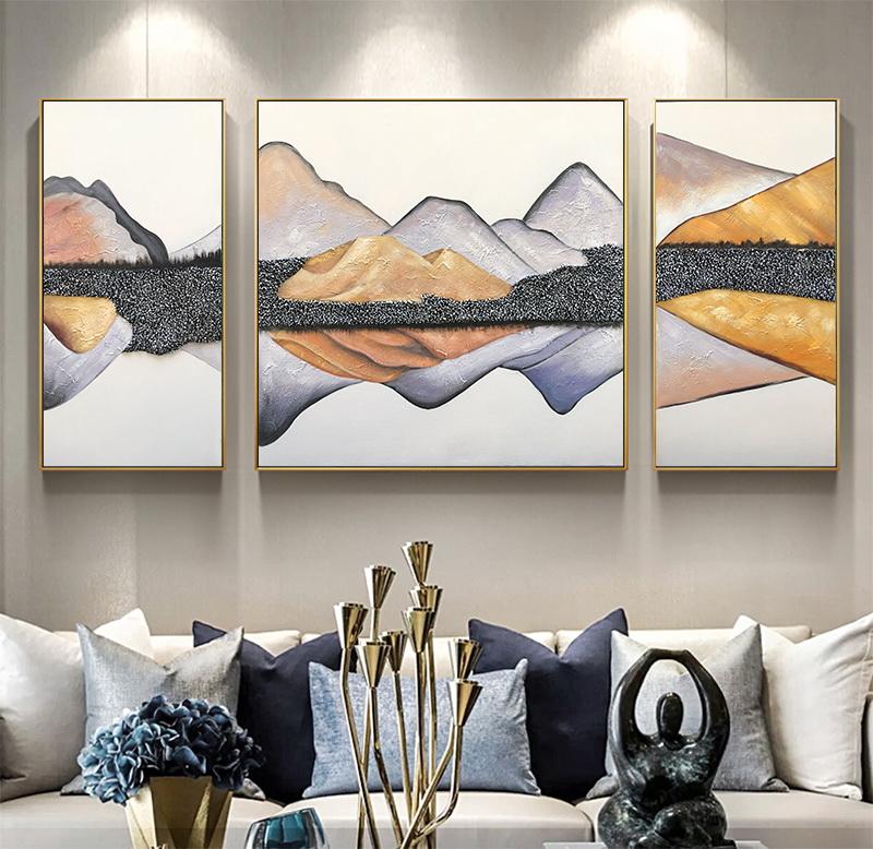 新中式三联客厅沙发背景墙风水壁画