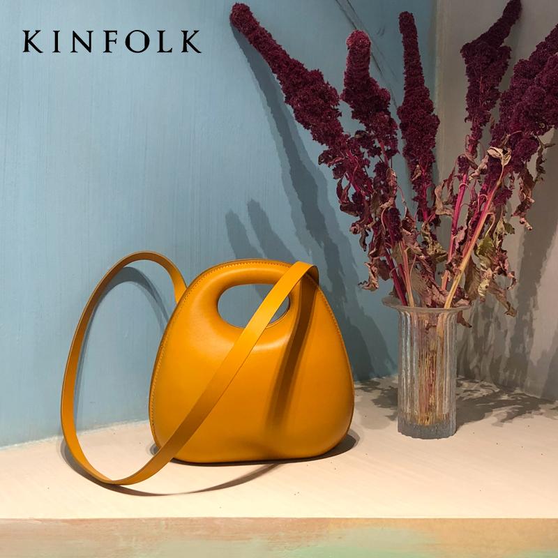 KINFOLK正品潮包2019新款包包ins超火鸡蛋包时尚小圆包贝壳斜跨手