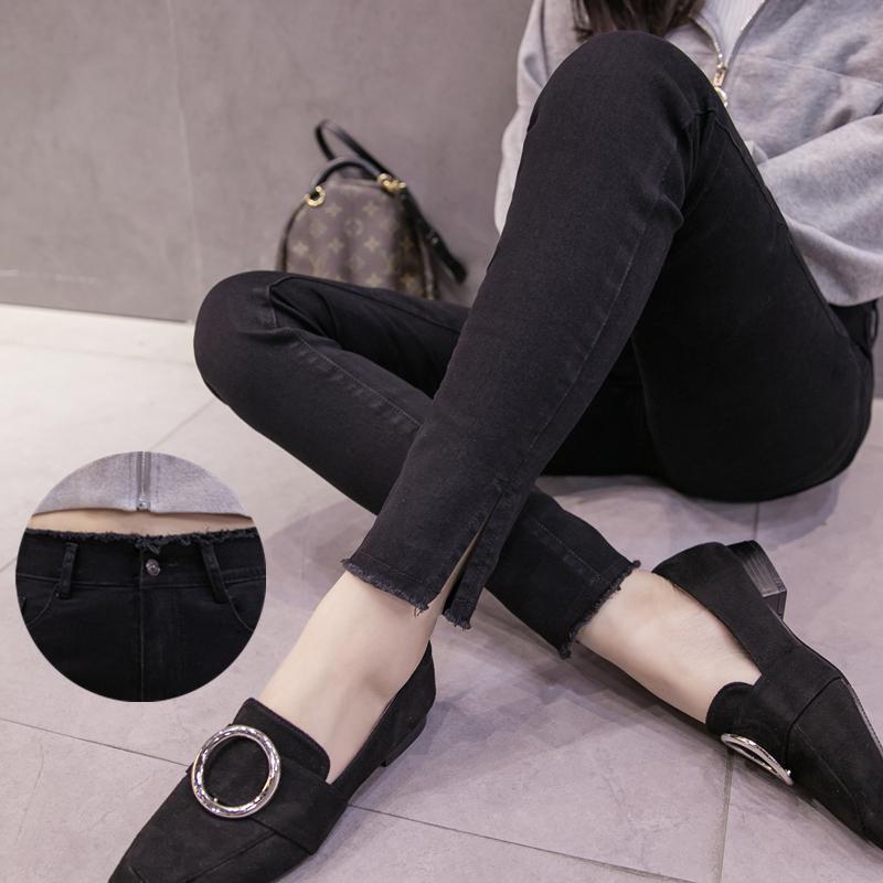 韩版高腰弹力开叉小脚牛仔裤女春秋季2019新款显瘦铅笔裤长裤夏装