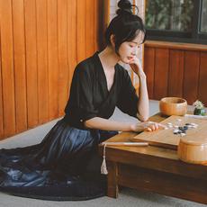 【8707#不低于59】实拍现货黑色复古汉服文艺雪纺衫上衣