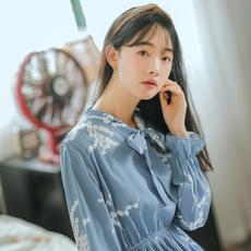 【6497#不低于69】一件印花长袖连衣裙 秋季现货