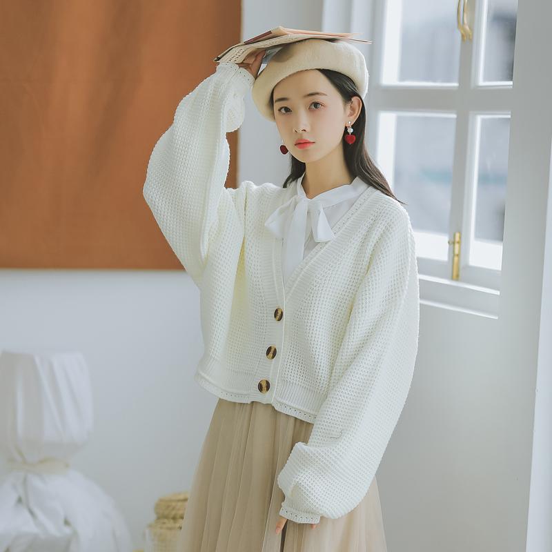 【6243#不低于79】秋冬新款v领开衫学院毛衣女针织衫短外套修身