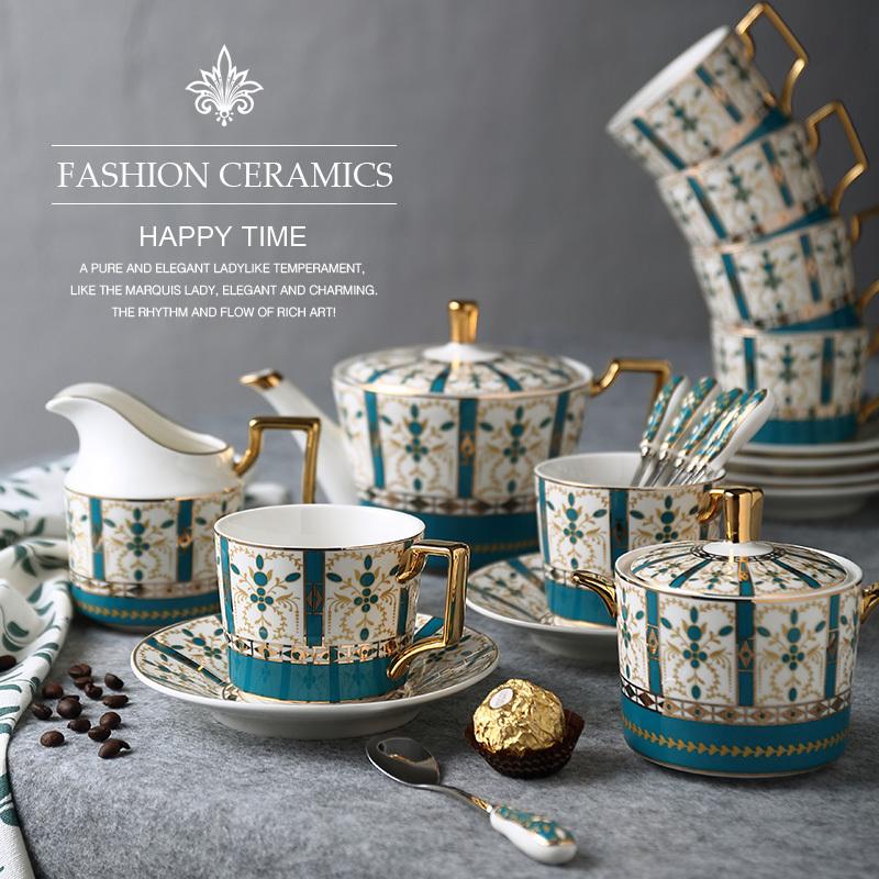 Позолота годы континентальный костяной фарфор кофе чайный сервиз британская керамика днем чашка инструмент выйти замуж подарок подарок