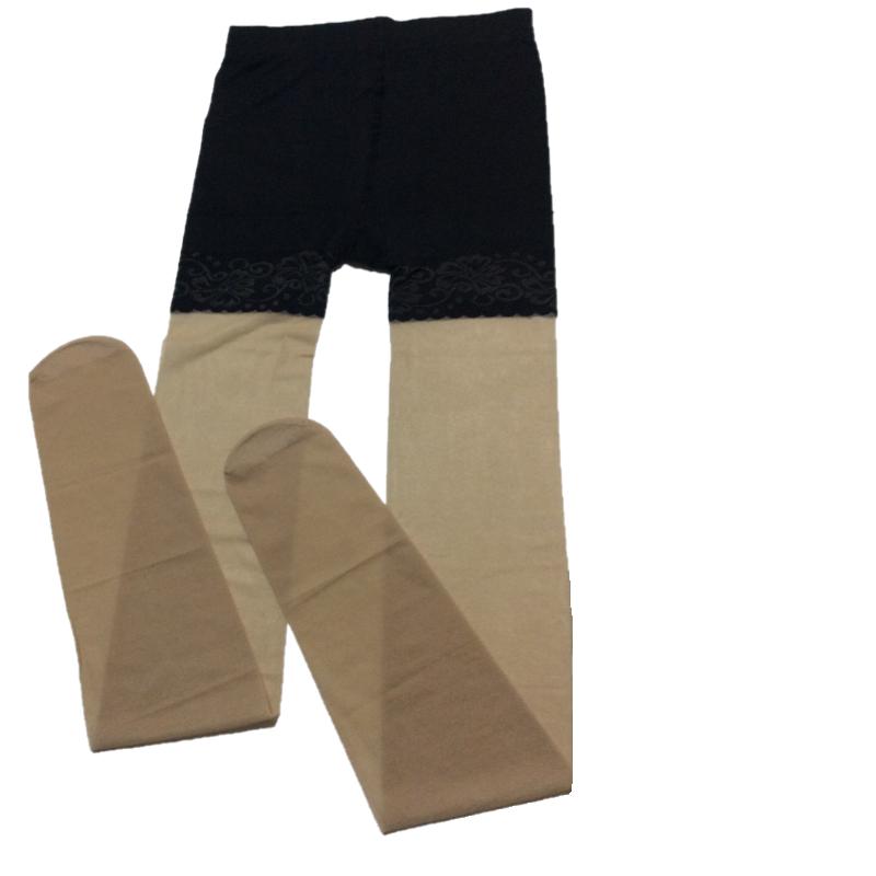 第2件0元光腿神器女薄款防走光丝袜防狼菠萝连裤袜蕾丝安全打底裤