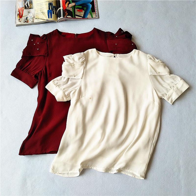 T2-2夏雪纺短袖女甜美百搭雪纺衫内衬公主泡泡袖小珍珠装饰小衫