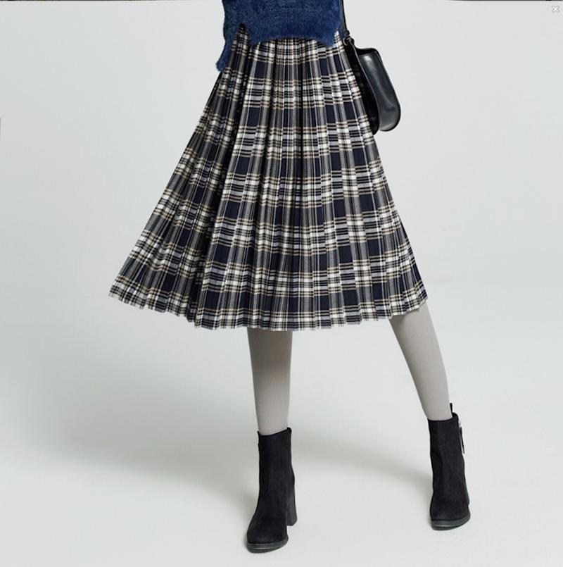 大喜自制2018春季新品气质复古两色格子百褶半身裙伞裙中长款女装