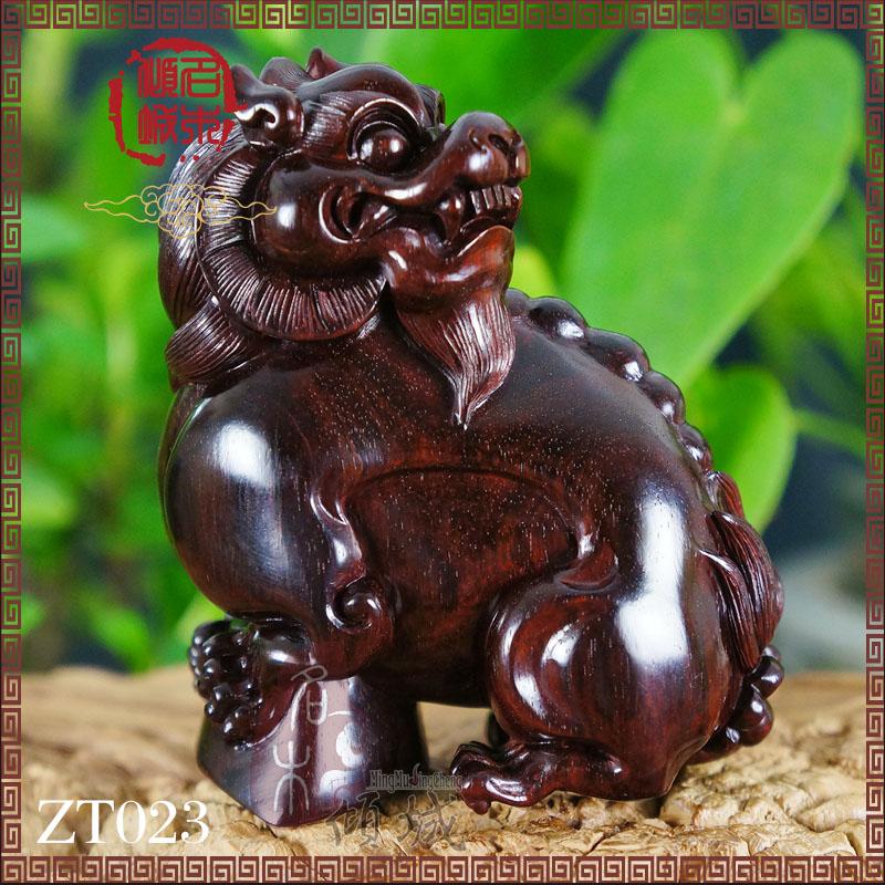 印度小叶紫檀老料木雕 貔貅雕刻件 红木根雕摆件 貔貅元宝守财