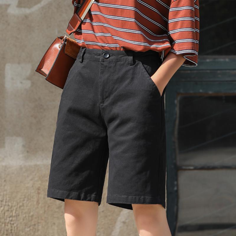 黑色短裤女宽松休闲五分工装裤女秋季直筒运动中裤女高腰韩版bf风
