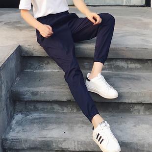 藏蓝色裤子女2021新款工装裤女夏季薄款束脚运动休闲女裤显瘦哈伦