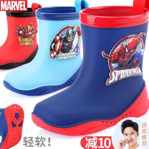 迪士尼儿童雨鞋男童蜘蛛侠卡通防滑中筒胶鞋小孩四季雨靴宝宝水鞋