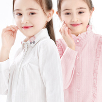 Girls plus cashmere shirt long-sleeved cotton autumn and winter childrens white shirt thickening one cashmere big child foreign air warm top