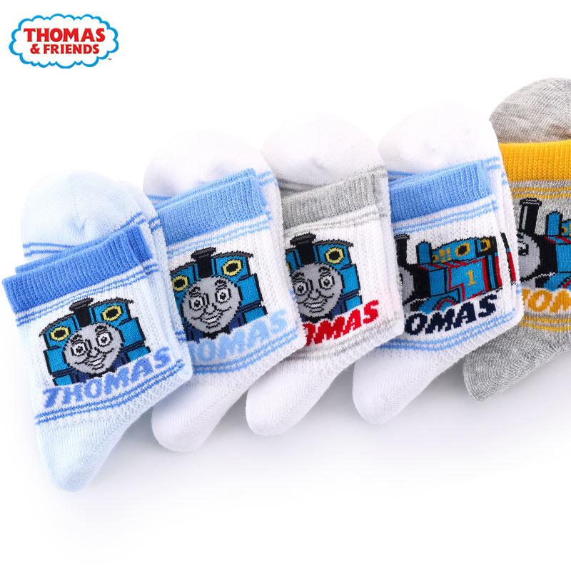 托馬斯男童襪子夏網眼薄款小孩3幼兒童5精梳棉7非純棉襪9寶寶短襪