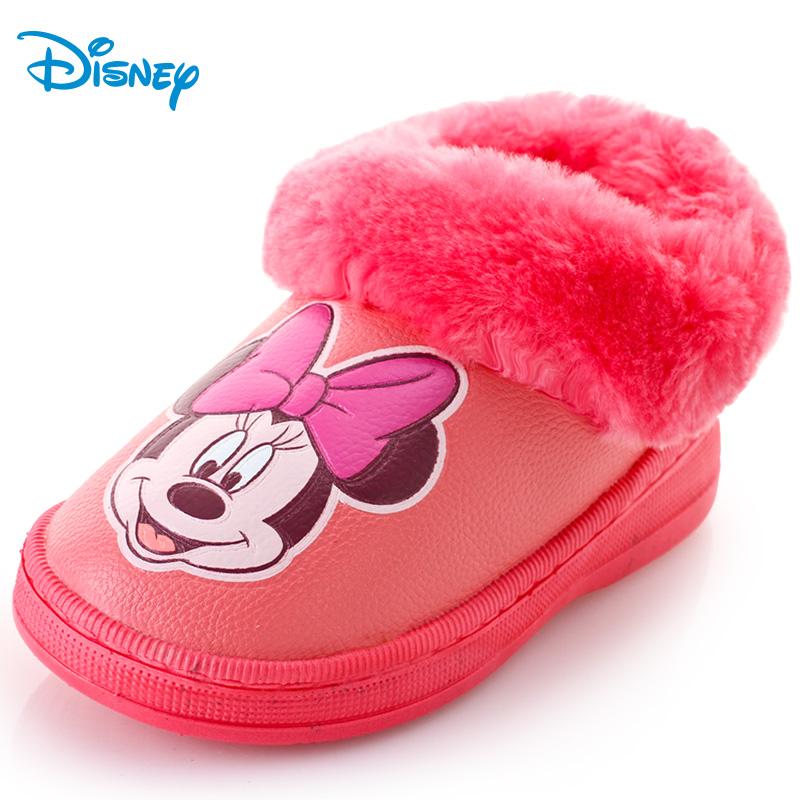 兒童棉鞋男童女童鞋子 正品迪士尼保暖毛絨暖鞋冬小孩寶寶家居鞋