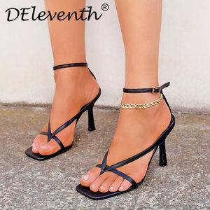 欧美heels shoes网红同款方头高跟鞋夹趾凉鞋外贸女鞋跨境货大码