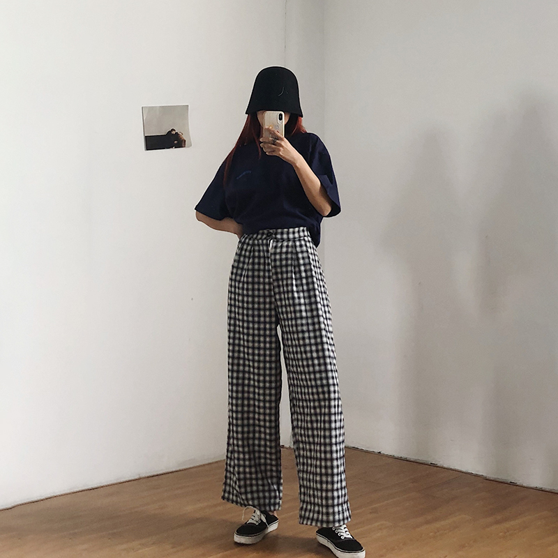 Wide Plaid wide leg pants Korean retro Plaid high waist elastic floor dragging pants womens versatile casual straight pants