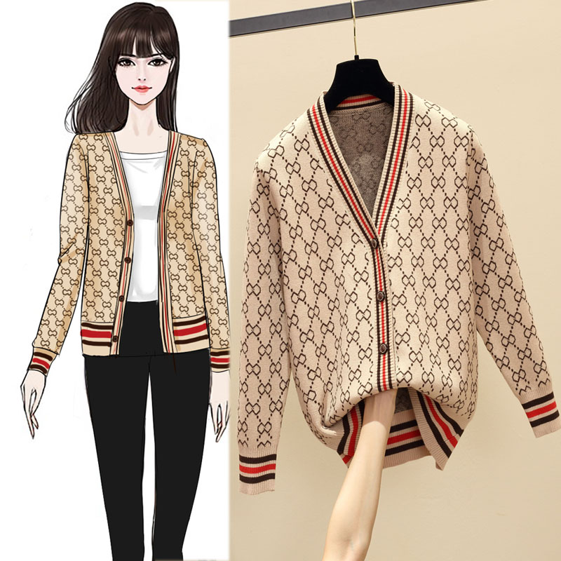 Knitwear sweater womens cardigan spring and autumn winter new student coat loose Korean version versatile lazy style