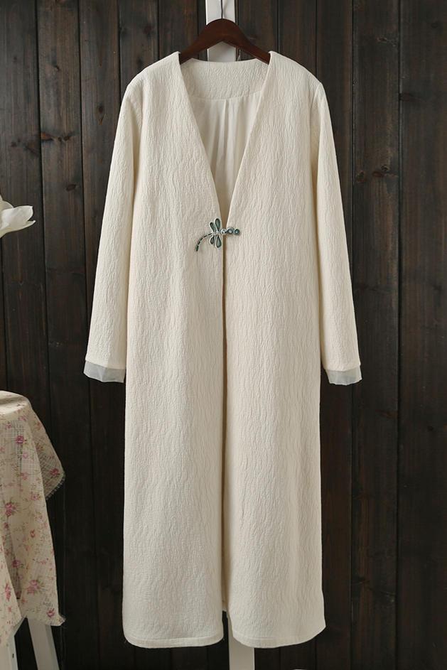 中式唐装旗袍外套女复古风衣长袖开衫中长款中国风女装禅服茶服女
