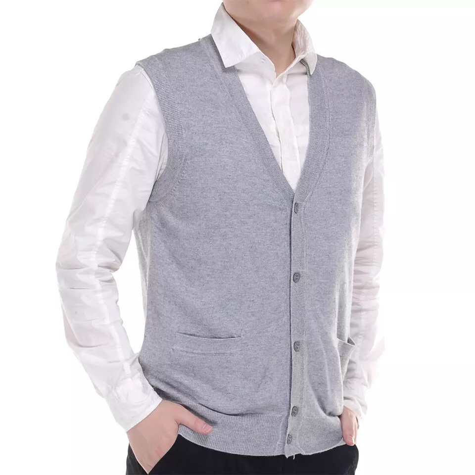 Spring and autumn thin middle aged and elderly mens cashmere vest