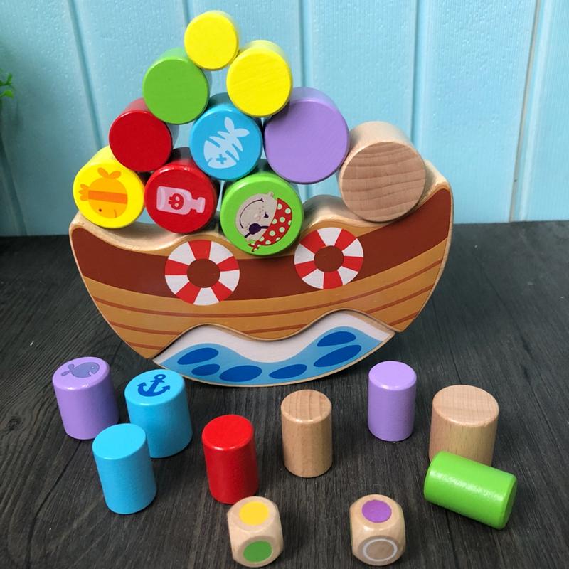46.80元包邮三只松鼠平衡游戏积木拼搭玩具榉木2-3-5周岁宝宝早教益智叠叠乐