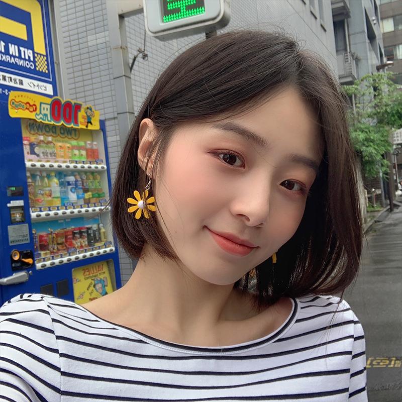 度假风清新撞色小雏菊花朵耳环女韩国个性款甜美气质耳钉耳夹R067