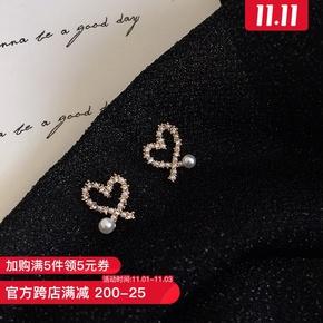 韩国个性不规则镂空爱心珍珠耳环女精致镶钻耳钉桃心耳夹耳饰E826