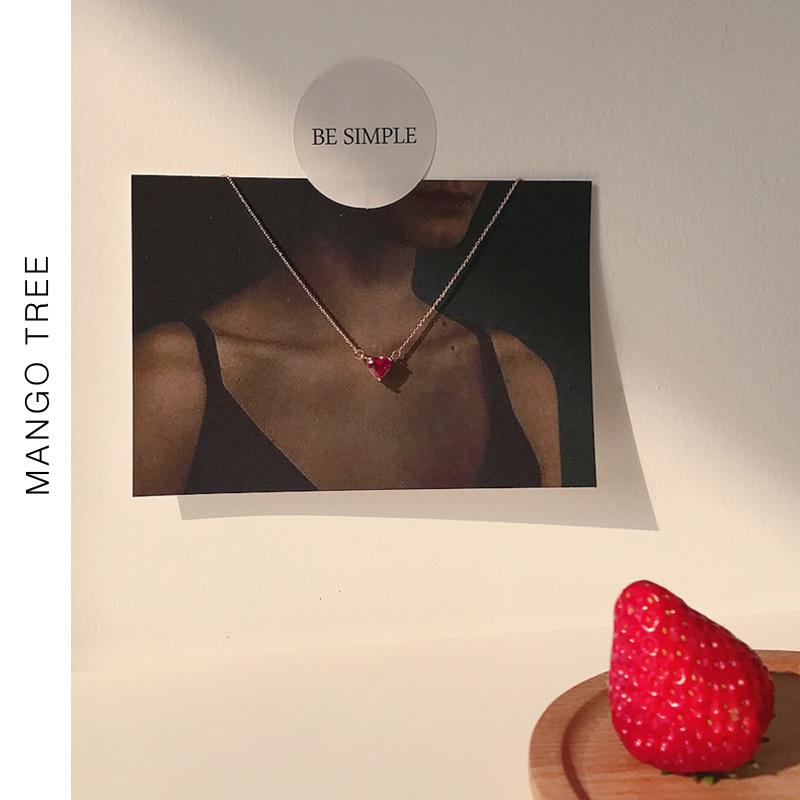 红色爱心形闺蜜项链锁骨链个性精致简约小桃心吊坠软妹饰品女X147