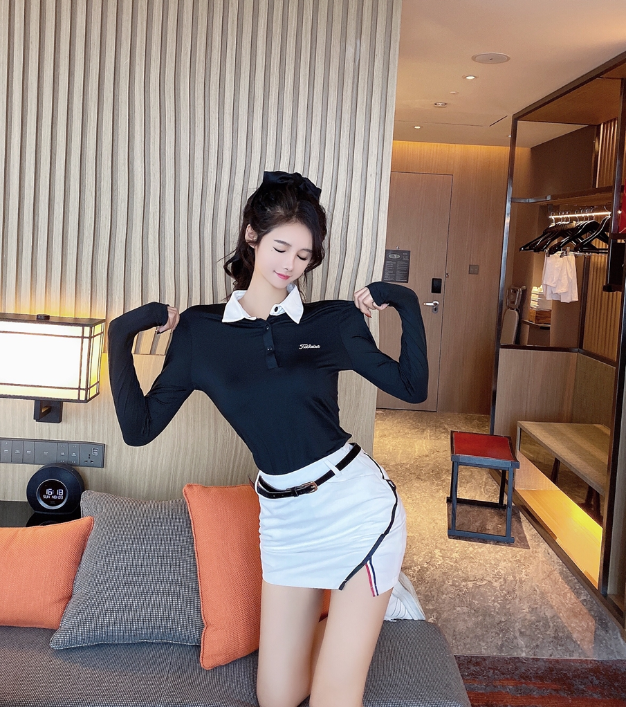 2019秋冬元气少女穿搭Polo领长袖T恤+开叉短裙裤配腰带运动风套装