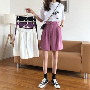 夏季2020新款韩版宽松休闲裤高腰阔腿裤五分裤女显瘦紫色西装短裤