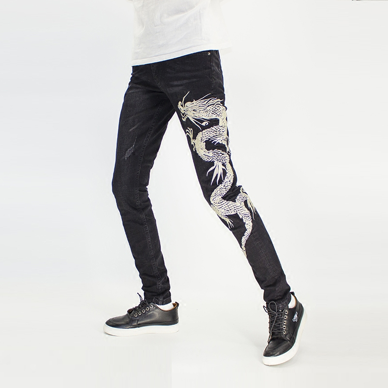 Chinese Style Mens embroidered jeans Silver Dragon embroidery personality fashion brand black cotton elastic slim pants