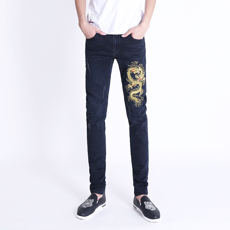 Chinese style Golden Dragon fairy crane embroidered mens embroidered jeans