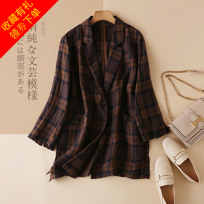 2020 spring Plaid Cotton hemp suit coat womens Lapel retro casual linen single Western womens loose 7 / 4 sleeve suit