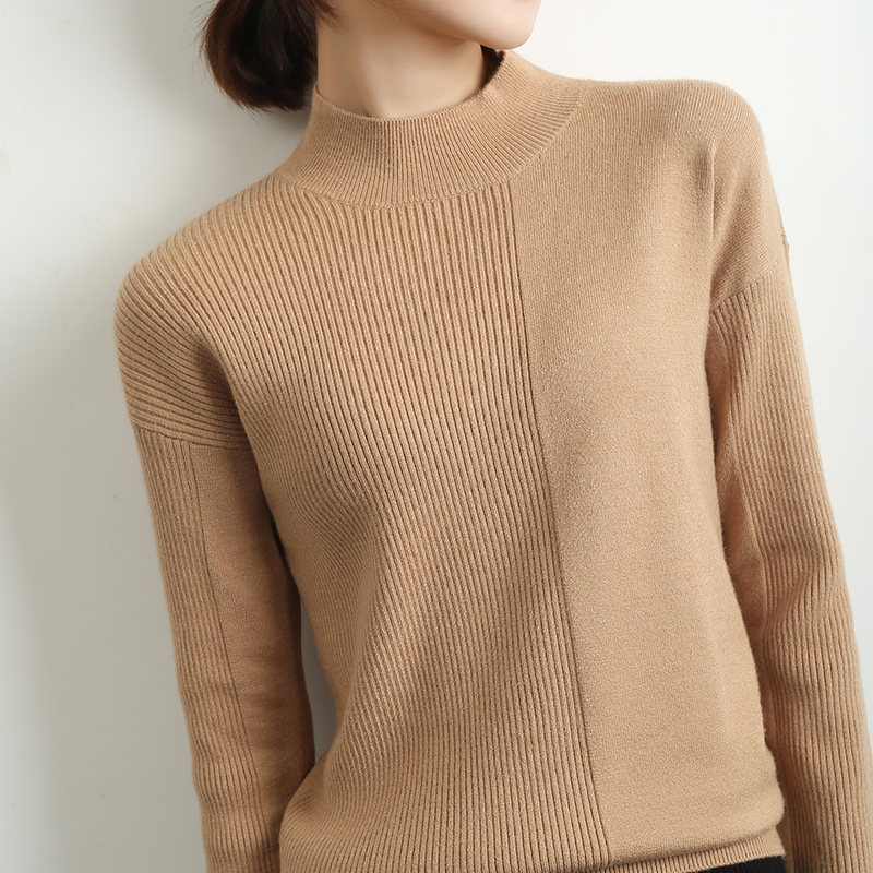 Autumn and winter new semi high neck short Pullover slim large sweater for women with solid core spun yarn knitting bottom coat
