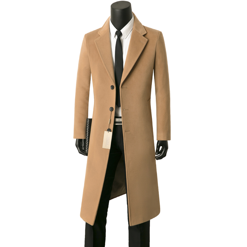 New mens cashmere coat extended knee windbreaker Korean slim fit single breasted coat wool double-sided cashmere fashion