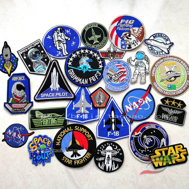 Space shuttle fighter astronaut back adhesive tape d211 badge shoulder badge Leather Jacket Patch Decal