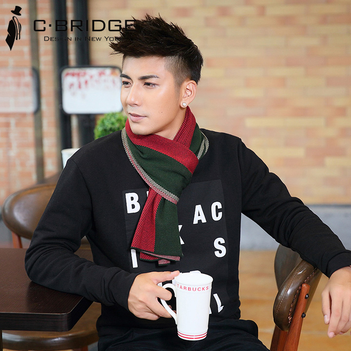 Mens scarves, mens winter Korean fashion, young peoples versatile long student simple, high-end wool and cashmere Bib