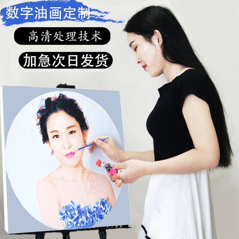 diy数字油画定制油彩画手绘人物情侣照片填色创意礼物减压装饰画