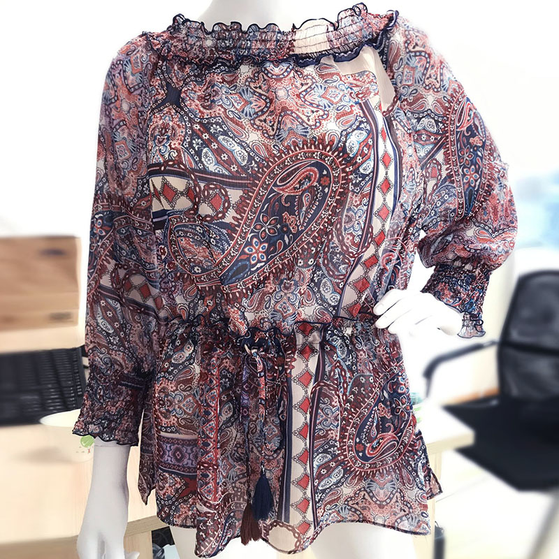New Ruffle off shoulder Crew Neck Chiffon print 2020 summer womens shirt