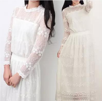 小清新连衣裙2019新款韩版甜美蕾丝裙文艺仙女裙超仙小个子连衣裙