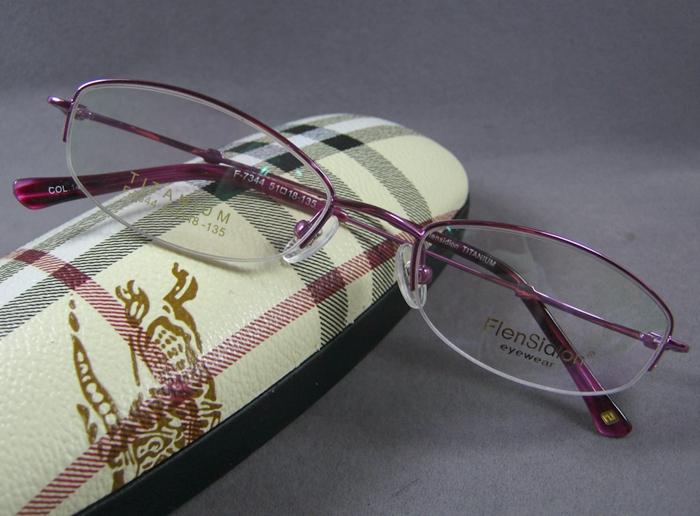 超轻新款纯钛女士半框眼镜架老花镜框中小框紫色潮珐琅诗顿7344