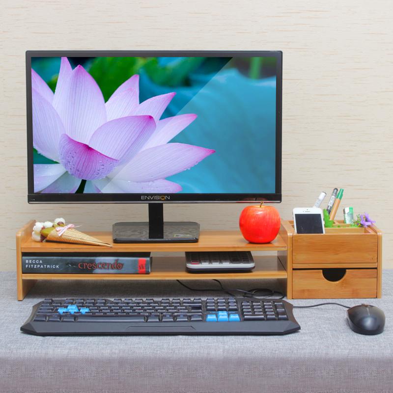 竹子电脑显示器增高架实木键盘架液晶显示器垫高桌面收纳电脑底座