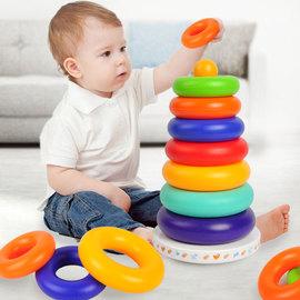 婴儿叠叠乐6-12个月不倒翁彩虹塔套圈幼儿早教0-1岁宝宝益智玩具