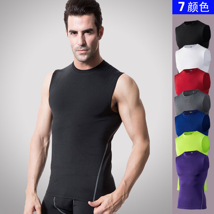 Pro sports running fitness basketball mens tight elastic compression quick drying sleeveless vest