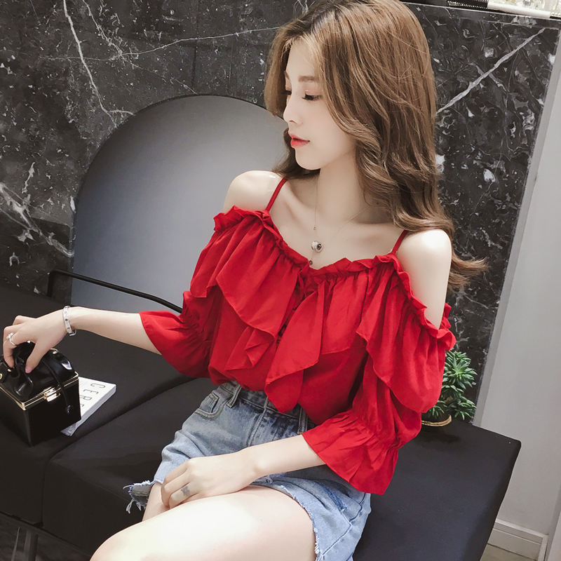 Xianqi chiffon shirt womens summer short sleeve net red anchor top off shoulder strap leakage clavicle heart machine foreign style shirt