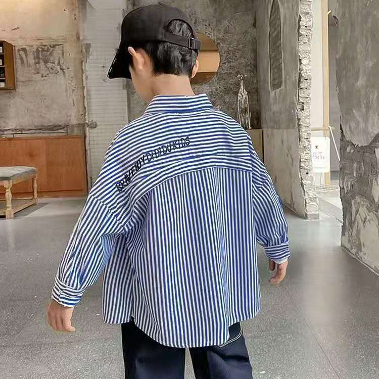 Boys Pure Cotton Striped Shirt autumn new middle and large childrens foreign style top childrens wear childrens long sleeve shirt coat