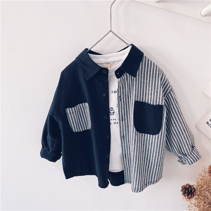 Childrens clothing spring and autumn new style foreign style 2021 boys long sleeve top childrens striped shirt baby shirt Korean childrens shirt