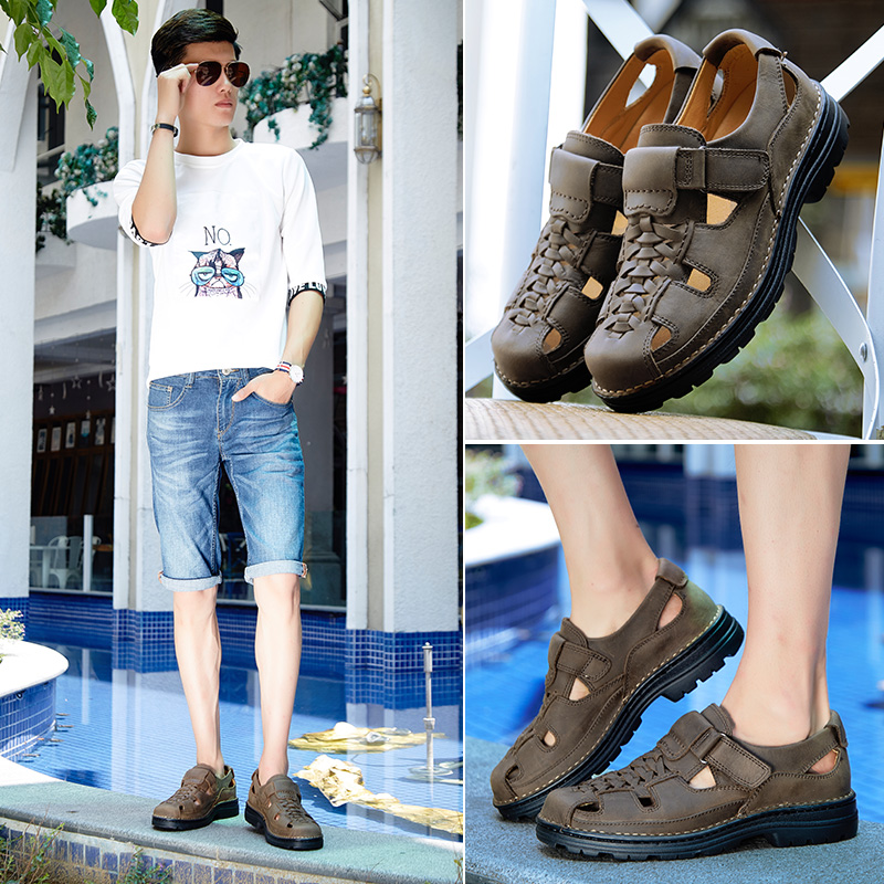 Huangling camel casual mens sandals outdoor Baotou antiskid beach shoes Korean handmade sandals mens shoes