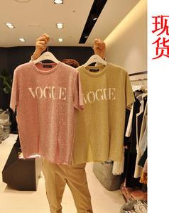 6324东大门2018春夏新款短袖宽松钉珠字母印花T恤女装时尚上衣潮