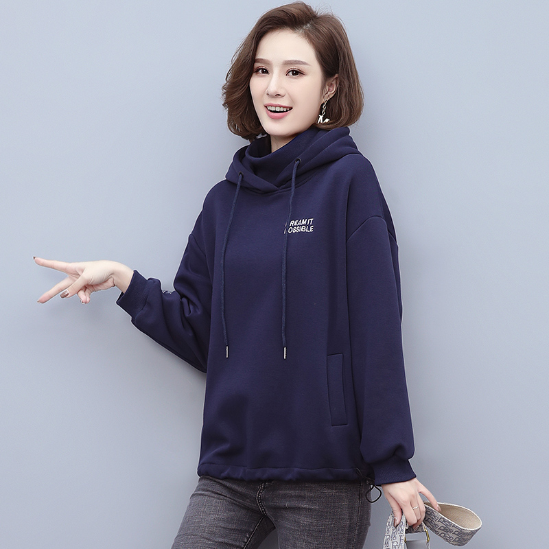 Autumn and winter 2021 Plush sweater womens fashion high neck hooded top Korean loose large womens bottomed shirt trend