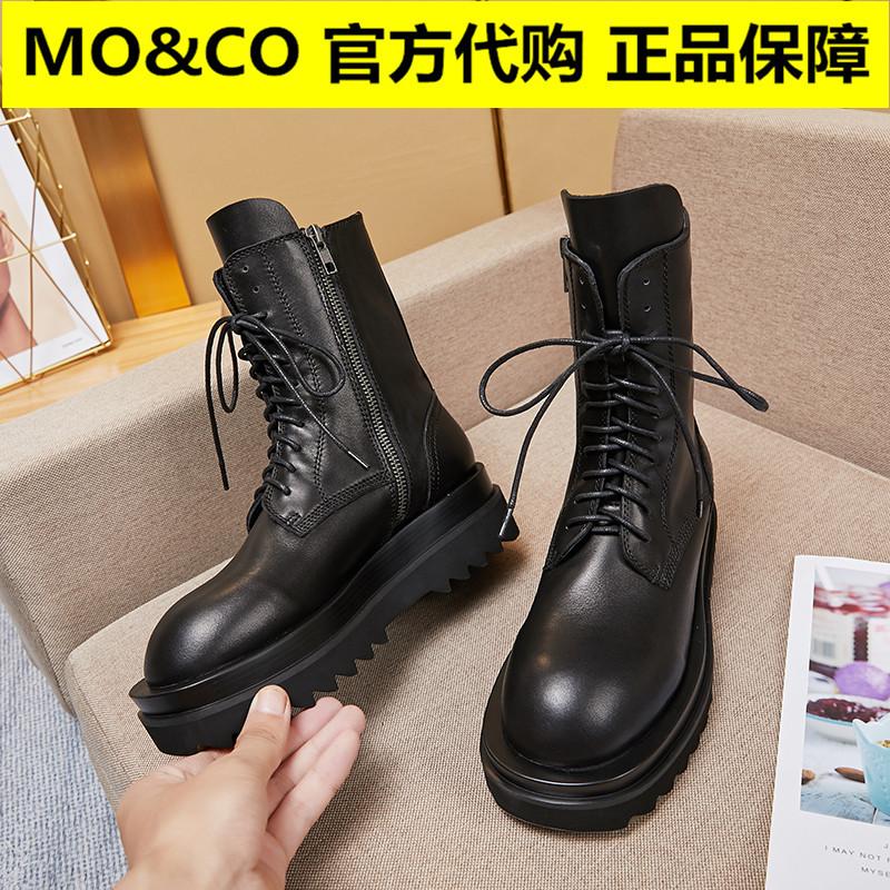 摩安珂鞋子MOCO20秋冬季款拉链头层真牛皮圆头双层厚底马丁短靴女