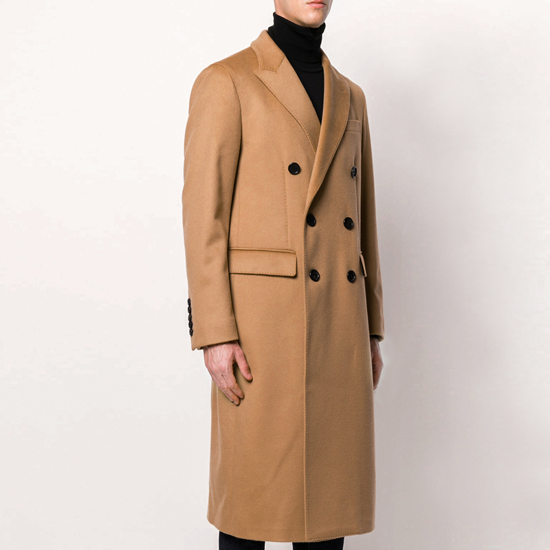 2020 spring and autumn new wool and cashmere blended coat mens long over knee double breasted slim fitting wool coat same
